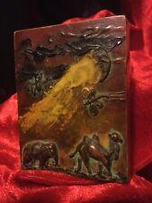 Hermoso Estilo Art Deco Lucite/PERSPEX cigarrillo o tarjeta caso escenas de animales de fantasía