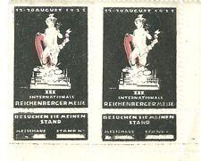 1922 REICHENBERG (LIBEREC, CZ) TRADE FAIR PAIR W/ ATTACHED BOOTH COUPON VG