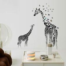 Wandtattoo Giraffe Wohnzimmer Aufkleber Schmetterling Tier schwarz Sticker Kind