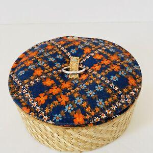 Vintage Floral Sewing Storage Basket Box Blue White Orange  Round Bamboo Retro