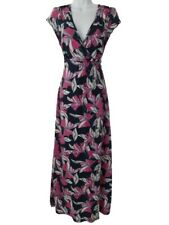 Mantaray UK 12 Maxi Dress Floral Deep Pink and Blue Stretch Belted Long Summer
