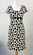 Boden Polka Dot Spot Leopard Print Dress UK 10R Black & White Free UK Postage