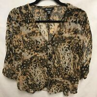 Zury Women's One Size Leopard Looking Print  - Free Flowing Blouse C0339 EUC