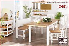 Esstisch Tisch ausziehbar weiß natur, Massivholz Pinie, Landhausmöbel aus Mexiko