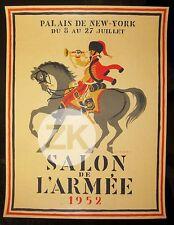 SALON DE L'ARMEE Cavalier HUSSARD Cheval Trompette Luc-Marie  BAYLE Affiche 1952