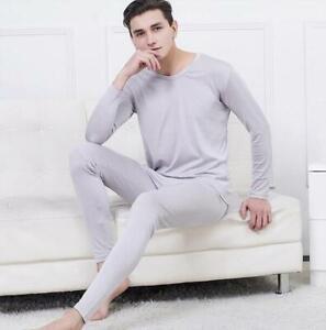 80% Silk 20% Cotton Men's Base Layer Long Johns Warm Thermal Underwear Set SG205