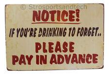 Alcohol Pay Advance Funny Tin Sign Bar Garage Dorm Decor Retro Metal Art Poster