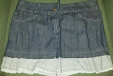 Tres Chic dark denim skirt with striped ruffle. Size 9.
