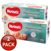 2 x HUGGIES BABY WIPES FRAGRANCEFREE UNSCENTED WET TISSUE 640 SHEETS BUNDLE PACK