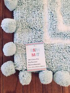 Bathroom Mat Rug New TOP QUALITY Super CUTE Cotton Pom Pom Baby Blue