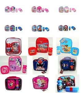 Kids Children Character Insulated Lunch Bag With Drink Bottle and Snack Box