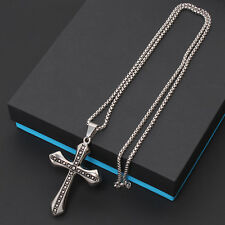 Men Gold Silver Stainless Steel Cross Crucifix Pendant Rope Cuban Chain Necklace