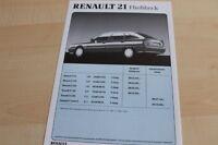 142364) Renault R 21 - Preise & Extras - Prospekt 11/1989