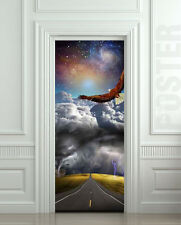 STICKER for door / wall / fridge - storm road with eagle. Wrap, mural, decole