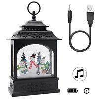 Musical Snow Globe Lighted Swirling Water  Glittering Lantern,Snowman Family