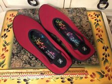 Arcopedico  Flats Size EUR 38 Womens Red stretch fabric  Shoes Comfort, EUC