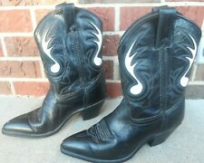 Code West women 7M Short Cowboy Boots leather stitched insets black white Usa