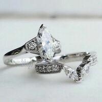 2.60 Ct Marquise Cut White Diamond Engagement Wedding Ring Set 14K White Gold
