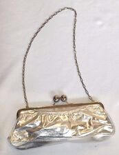 ALDO WEDDING EVENING PARTY SILVER CLUTCH BAG WITH LARGE BALL CLASP