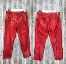 C'arla Du Nord 100% Real Leather Red Trousers Biker Motorcycle Moto Pants UK12
