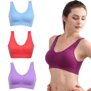 Women Bras Seamless Padded Yoga Running Sports Sleep Bra Stretch Crop Tops Vest
