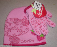STRAWBERRY SHORTCAKE KNIT BEANIE HAT & GLOVES SET~NEW~COLD WEATHER SNOW GEAR