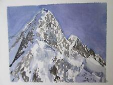 "ALASKA, MOUNT HUNTINGTON / ORIGINAL WATERCOLOR / 9"" X 12""  / MIMI DAVIS, ARTIST"