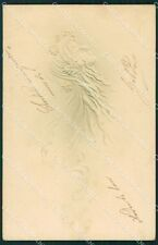 Art Nouveau Lady Relief OPF postcard PIEGHINE CREASES cartolina QT5834