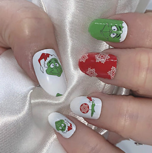 Christmas Grinch color real nail polish strips ZZ112 street art wraps
