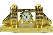 Londra Tower Bridge Scrivania Orologio D'oro in Metallo Regalo Souvenir Regno Unito