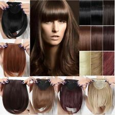 Real Thick Straight Neat Bang Clip in on Fringe Hair Extensions as Human Hair us