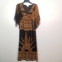 J GEE Womens Brown Black Boho Flared Sleeves V Neck Long Dress Size XL