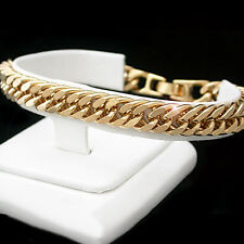"MENS 9"" Diamond Cut DOUBLE CURB Link 24kt Gold Layered Bracelet + LIFE GUARANTEE"