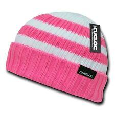 Pink & White Ski Warm Winter Skull Knit Sailor Cuff Beanie Beanies Cap Hat Hats