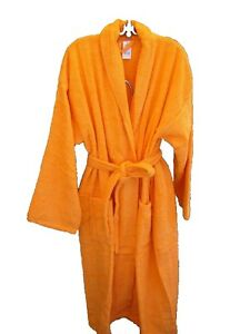 New Mens Womens Spa Terry Bath Robe 100% Cotton Orange Bathrobe XL