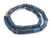 Translucent Blue Fulani Glass Tube Beads 17mm Nigeria African Large Hole