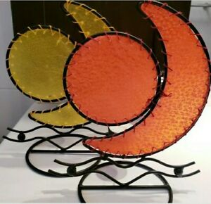 Sun And Crescent Moon Wrought Iron Gift Candle Holder Set  HANDMADE