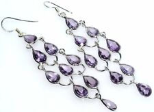 "Chandelier Earrings Amethyst Facet Cut, Genuine Gemstones 3"" Long Drop Silver"