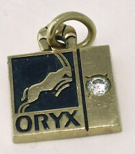 Estate 10K Yellow Gold Black Enamel Diamond Oryx Petroleum Employee Pendant