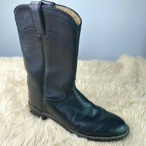 Justin Roper Boots Womens Size 6 B Leather Cowboy Western Mid Calf Black