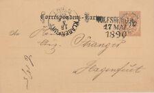 Ausgabe 1883, Ganzsache Wolfsberg 17.5.1890 nach Klagenfurt