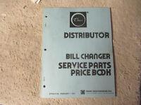 ROWE DISTRIBUTOR  BILL CHANGER   JUKEBOX  owners manual