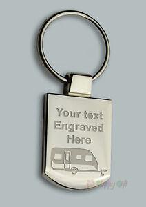 Engraved CARAVAN design Free Personalised Metal Keyring Boxed