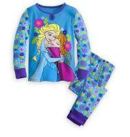 Disney Authentic Frozen Elsa & Anna Pajamas Set Girls PJ's Size 2 3 4 5 6 7 8 10