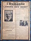La Une Du Journal L?humanité Mercredi 23 Janvier 1924 Lénine Est Mort