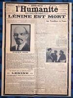 La Une Du Journal L'humanité Mercredi 23 Janvier 1924 Lénine Est Mort