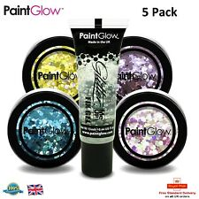 PaintGlow Set of Chunky Glitter with Cosmetic Fixing Glue Included 5 PACK Makeup