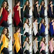 Women Summer Crew Neck Tunic Sleeveless T Shirt Solid Loose Casual Tops Blouse