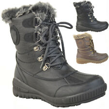Ladies Womens Flat Warm Fur Lined Grip Sole Winter Snow Ankle BOOTS Shoes Size UK 5 / EU 38 / US 7 Brown Faux Leather