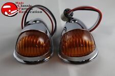 Guide Style Headlight Chrome LED Turn Signal Marker Lights Housings Amber 1157